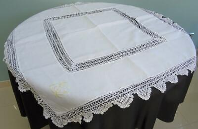 Vintage 1930s Tablecloth White Cotton Crochet Lace Embroidered 30s 42
