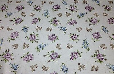 WAVERLY SONYA PURPLE FLORAL COTTON CHINTZ BEDDING CURTAIN FABRIC BY THE YARD 54