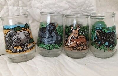 "4 WWF World Wildlife Fund Welch's 4"" Juice Jelly Glasses Bear Deer Gorilla Rhino"