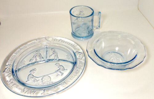 Mother Goose Nursery Rhyme Set Cup Plate Bowl Blue Child