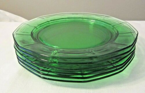 "6 Fostoria Fairfax Green 9 3/8"" Dinner Plates Elegant Great Condition"