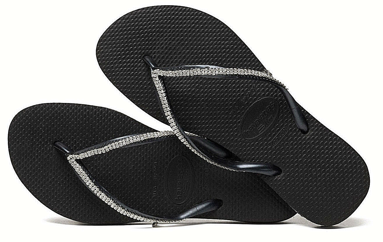 Havaianas Women`s Flip Flops Slim Crystal Mesh Black with Sw