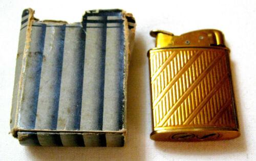 Old EVANS US Pat 19023 Gold Tone SPITFIRE CIGARETTE LIGHTER w/Box