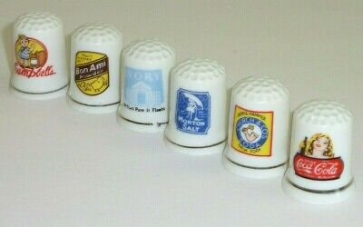 Vintage Porcelain Thimble Lot of 6 Advertising Campbell Coca Cola Ivory Soap