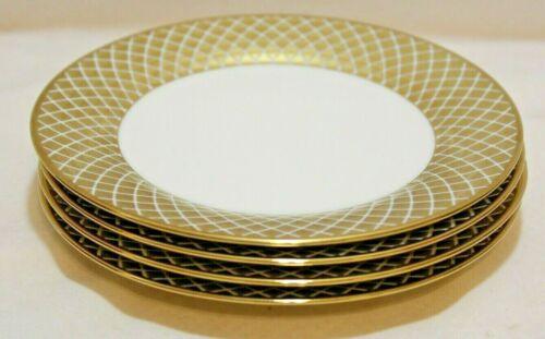 Ciroa Luxe Lattis Gold Metallic Lattice Salad Side Plates Set of Four New