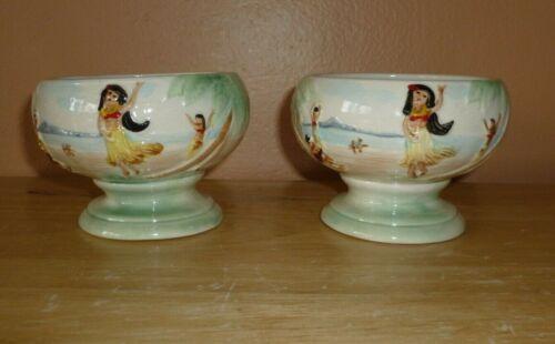 Set of 2 Vintage Otagiri Scorpion Bowl Hula Girl Wahini Tiki Hand-Painted