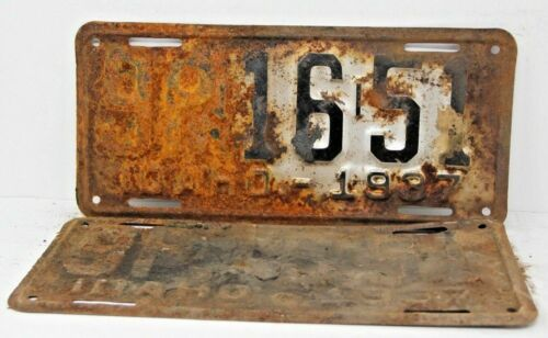 1937 IDAHO License Plate Collectible Antique Vintage 9P-16-51 Matching Set Pair