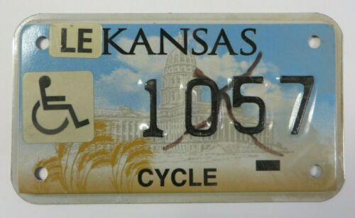 Vintage Kansas Motorcycle License Plate Tag Handicapped Disabled No. 1057 RARE