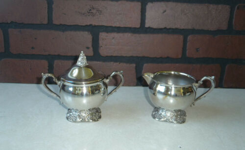 Vintage Silver Plate Creamer And Sugar Bowl Set