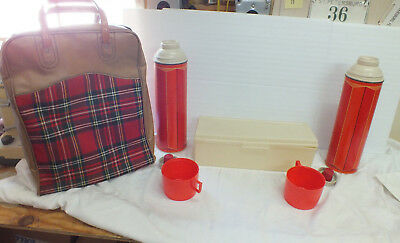 Vintage Thermos red plaid retro picnic bag  2 thermos and sandwich box
