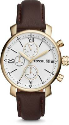 Fossil Rhett Men's Chronograph Gold Tone Steel Brown Leather Watch BQ1009