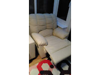 White Leather Reclining Arm Chair