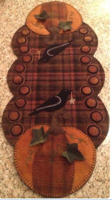 Primitive Wool Penny Rug, Table Runner