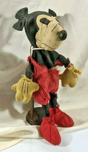 Vintage Incredibly Rare 1930s Disney Minnie Mickey Mouse Plush Stuffed Doll