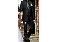 black mens suit - worn only once, perfect condition
