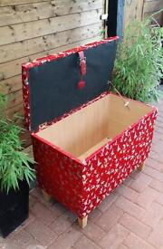 Red Chinese style ottoman