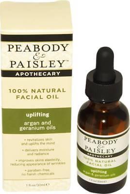 NIB Peabody & Paisley Apothecary Natural Facial Oil Uplifting Argan Geranium