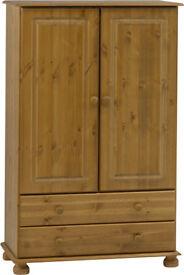 Truro Small 2 Door Combination Wardrobe with 2 Drawers - Pine