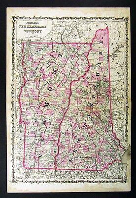 1860 Johnson Vermont New Hampshire Mount Washington - Original Antique Atlas Map