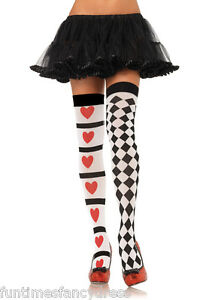 Sexy-Harlequin-Heart-Jester-Joker-Circus-Thigh-High-Stockings-Fancy-Dress
