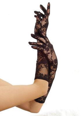 Lange Nylon Handschuhe Schwarz (IAL Leg Avenue G1850 Ellbogen lange Handschuhe aus Spitze schwarz Blumen Muster)