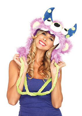Leg Avenue Three Eyed Fred Halloween Costume Furry Monster Cosplay Hood Pom Poms - Halloween Costumes Three