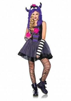 Teen Halloween Outfits (Teen Girls Punk Monster Dress n Furry Hood Outfit Kids Juniors Halloween)