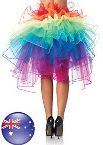 Mardi Gras Adult Petticoat Rainbow Tulle Tutu Fluffy 8-layer Bustle Skirt Ballet