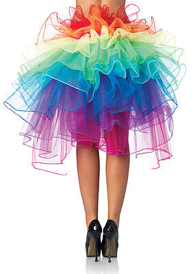 Women Rainbow Half Bustle Tutu Skirt Rave Dance Burlesque Costume Mardi Gras