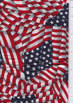 cranston ~ WAVING AMERICAN FLAG ~ fabric printed in USA commemorative tag - Printed Fabric