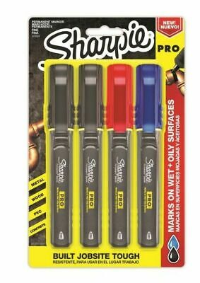 Sharpie Pro Permanent Markers 4 Pack Assorted Colors Fine Point Brand New