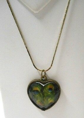 """Vintage~1"""" Heart Shaped Faceted Pendant w/Peacock Eyes on 24"""" Gold Plte Necklace"""