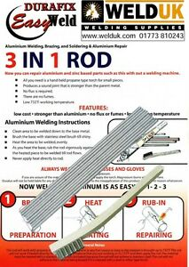 Aluminium Welding Brazing & Soldering Low Temp Durafix Easyweld x 5 + Brush E03