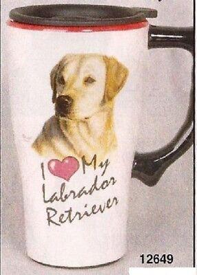 Yellow Lab Retriever Ceramic Coffee Travel Mug, Plastic Cover, NIB [12649] OoP for sale  Shipping to Canada