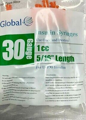 Global Medical Products - Insulin Syringes 1 Cc 1 Ml - 30g X 516 - Qty 10
