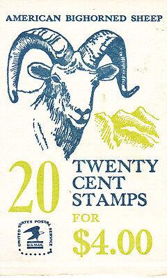 U.S. BKLT OF 20 SCOTT #BK142 1982 20ct BIGHORN SHEEP MINT VAR P#'s UNDER FACE