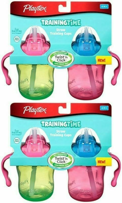 4 Pack - Training Time Straw Cups Playtex 6 Ounce, 4 Count (COLORS MAY VARY)