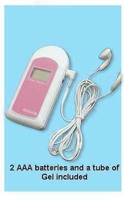 Pink Baby Sound B Fetal Heart Doppler W Gel Battery Earphone Audio Cord.