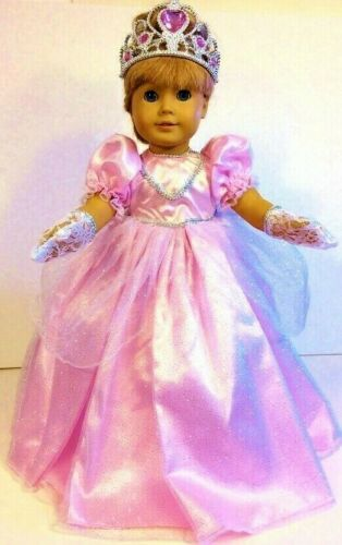 "Pink PRINCESS DRESS Fits 18"" American Girl Doll Clothes Costume CROWN, GLOVES !"