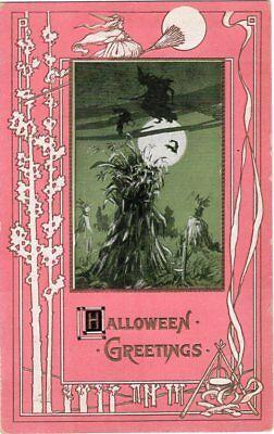 Halloween Pub (HALLOWEEN POSTCARD, PUB. ROSE Co, BORDER WITH TREES AND CAULDRON, PINK)
