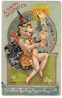 WITH PUMPKIN ARROWS POSTCARD WITH LIT CANDLE (Cupid Halloween)