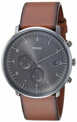 Fossil FS5517 Men's Chase Timer Chronograph 42mm Gray Dial Leather Watch