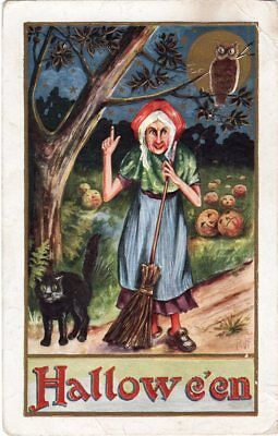 HALLOWEEN POSTCARD, PUBLISHED BY WHITNEY, OLD LADY STANDING WITH BROOM, OWL, CAT - Old Halloween Lady