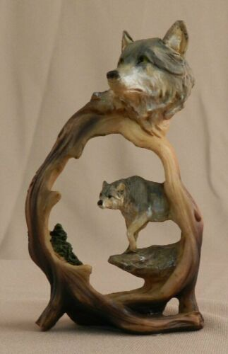 Wolf in Wolf Miniature Carving - upright - NIB