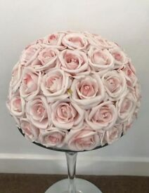 Pink artificial rose dome table decorations