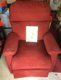 Pride Riser Recliner excellent condition in red upholstery fabric