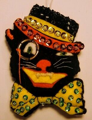 Handmade Beastlie Vintage Dapper Cat Halloween Ornament Black cat with top hat