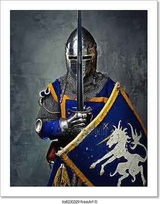 Medieval Knight On Grey Background. Art Print Home Decor Wall Art Poster](Knight Decorations)