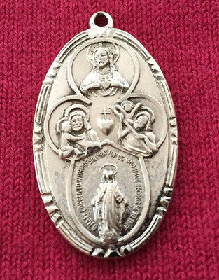 Vintage Catholic Religious Holy Medal - STERLING - Scapular / Large / Older