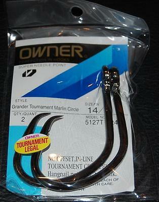 Owner Grander Tournament Marlin Circle Hooks Size 14/0 Pack Of 2 Legal 5127t-241